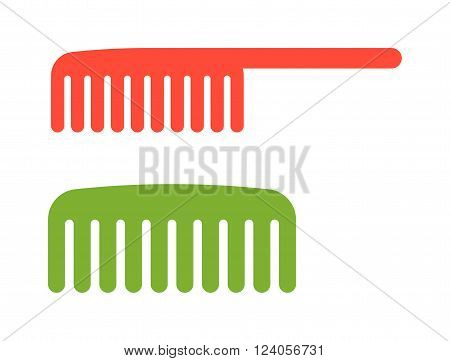 Fashion comb icon and style comb hairdresser care icon equipment. Two red and green comb icon barbershop flat vector illustration.