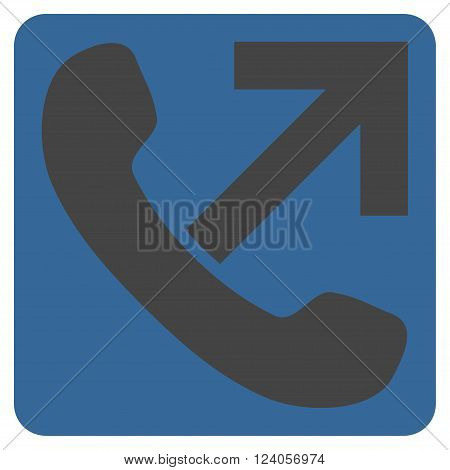 Outgoing Call vector pictogram. Image style is bicolor flat outgoing call icon symbol drawn on a rounded square with cobalt and gray colors.