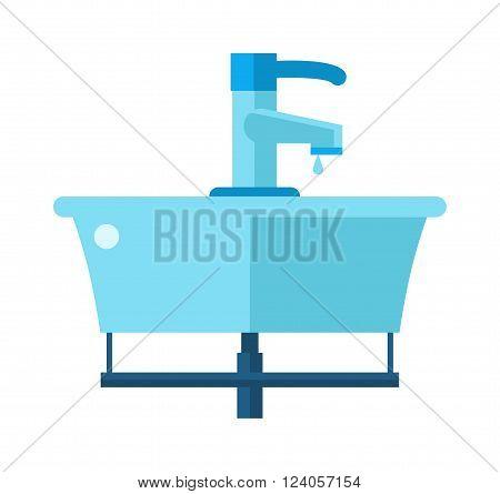 Washbasin domestic ceramic object and wash basin for washing hands vector. Washbasin bathroom cartoon flat vector illustration.
