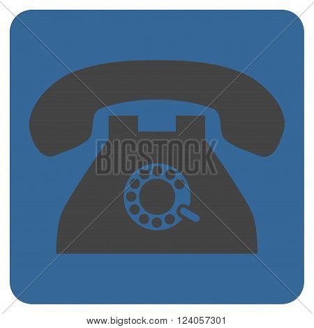 Pulse Phone vector icon symbol. Image style is bicolor flat pulse phone pictogram symbol drawn on a rounded square with cobalt and gray colors.