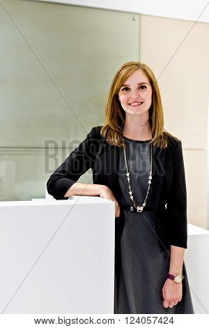 Closer View Of A Cute Girl In The Office