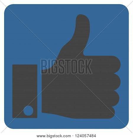 Thumb Up vector icon. Image style is bicolor flat thumb up icon symbol drawn on a rounded square with cobalt and gray colors.