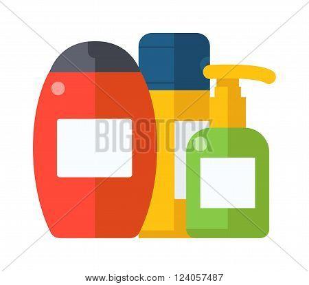 Bottle shower gel and shower care gel container symbols vector. Cosmetic packaging plastic shampoo or shower gel bottle flat vector illustration.