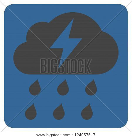 Thunderstorm vector symbol. Image style is bicolor flat thunderstorm iconic symbol drawn on a rounded square with cobalt and gray colors.