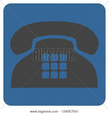 Tone Phone vector pictogram. Image style is bicolor flat tone phone pictogram symbol drawn on a rounded square with cobalt and gray colors.