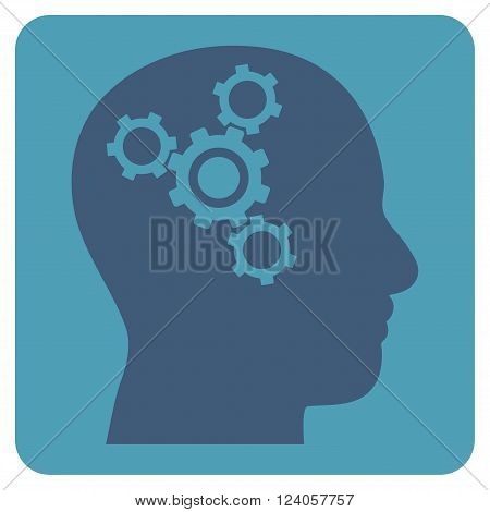Brain Mechanics vector icon symbol. Image style is bicolor flat brain mechanics iconic symbol drawn on a rounded square with cyan and blue colors.