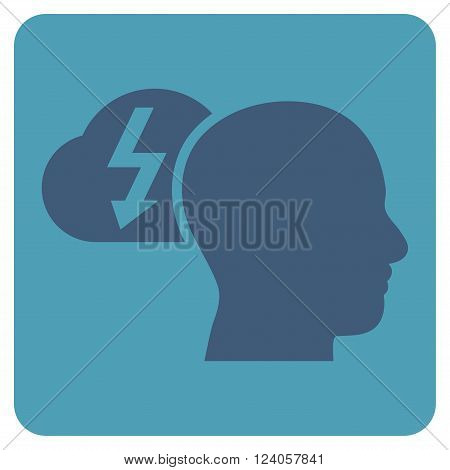 Brainstorming vector symbol. Image style is bicolor flat brainstorming iconic symbol drawn on a rounded square with cyan and blue colors.