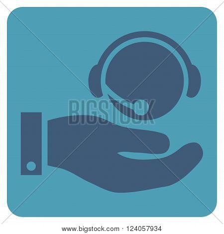 Call Center Service vector symbol. Image style is bicolor flat call center service icon symbol drawn on a rounded square with cyan and blue colors.