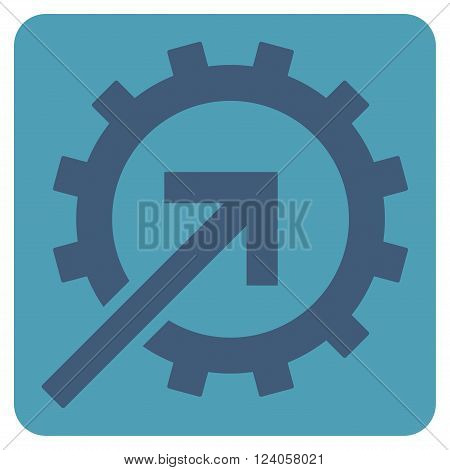 Cog Integration vector pictogram. Image style is bicolor flat cog integration icon symbol drawn on a rounded square with cyan and blue colors.