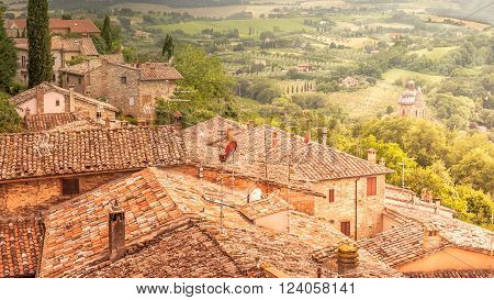MONTEPULCIANO, ITALY - JUNE 23, 2015: Panorama of Val D'Orcia valley in Tuscany. A wiev from Montepulciano town.