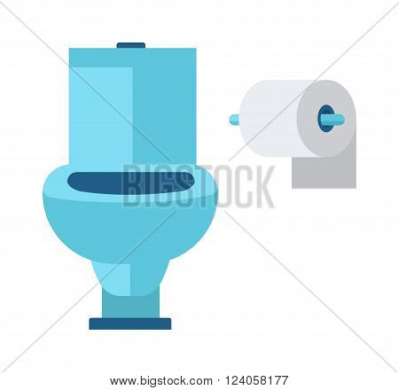 Toilet bowl in bathroom and cartoon sanitary ceramic toilet, soft white paper vector. Blue toilet roll and soft white paper cartoon flat vector illustration.