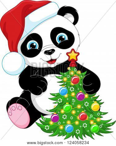 Cute Panda with Christmas tree, Eps 10