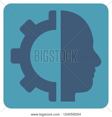 Cyborg Gear vector pictogram. Image style is bicolor flat cyborg gear icon symbol drawn on a rounded square with cyan and blue colors.