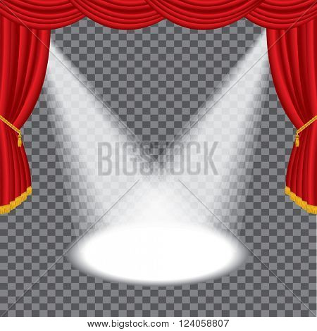 vector transparent empty red stage with two spotlights