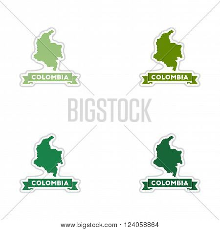 Set of paper stickers on white  background Columbia card