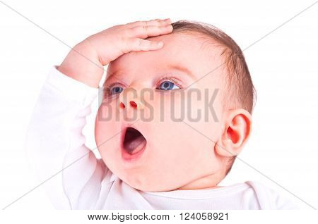 Image of a beautiful baby girl on white background