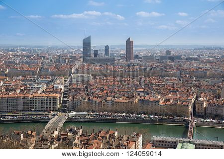 Aerial view of the city of Lyon France.
