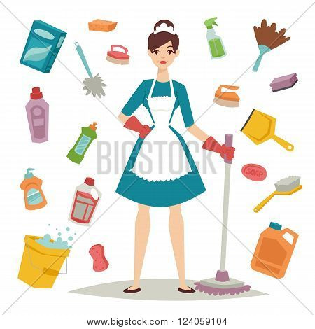 Housewife girl homemaker cleaning and housewife pretty girl wash. Housewife girl and home cleaning equipment icon in flat style vector illustration.