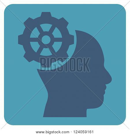 Head Gear vector icon symbol. Image style is bicolor flat head gear icon symbol drawn on a rounded square with cyan and blue colors.