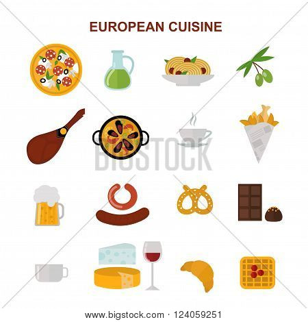 European tasty food and cuisine european dinner food vector. Top view showing European food and delicious elements flat vector illustration.