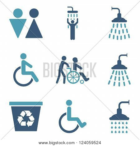 Toilet and Shower vector icon set. Style is bicolor cyan and blue flat symbols isolated on a white background.