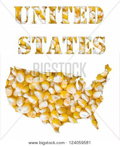 United States word and country map shaped with corn seeds