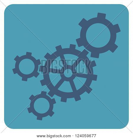 Mechanism vector icon symbol. Image style is bicolor flat mechanism iconic symbol drawn on a rounded square with cyan and blue colors.