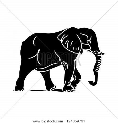Graphic image of a large elephant. Figure in the form of a black silhouette of a wild animal. Vector on white background.