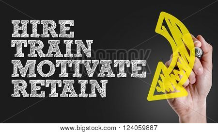 Hand writing the text: Hire - Train - Motivate - Retain