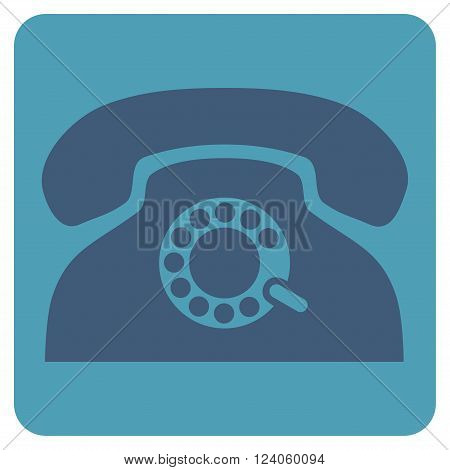Pulse Phone vector icon. Image style is bicolor flat pulse phone icon symbol drawn on a rounded square with cyan and blue colors.