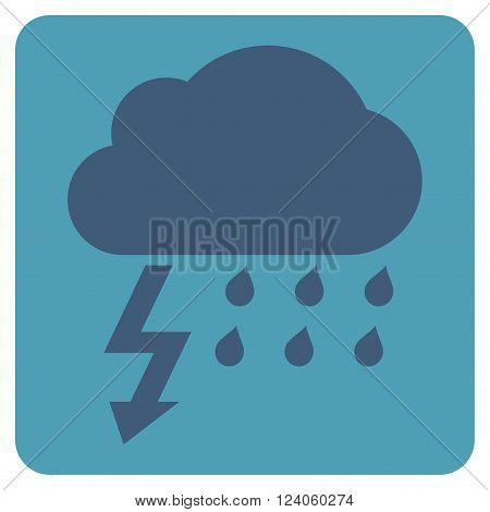 Thunderstorm vector pictogram. Image style is bicolor flat thunderstorm icon symbol drawn on a rounded square with cyan and blue colors.