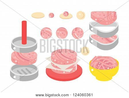 Meat products vector illustration. Meat products isolated on white background. Meat products vector icon illustration. Meat products isolated vector. Meat products silhouette