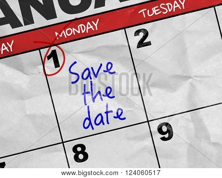Concept image of a Calendar with the text: Save the Date