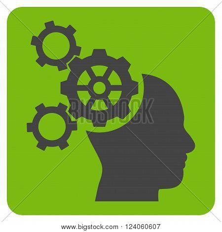 Brain Mechanics vector symbol. Image style is bicolor flat brain mechanics pictogram symbol drawn on a rounded square with eco green and gray colors.