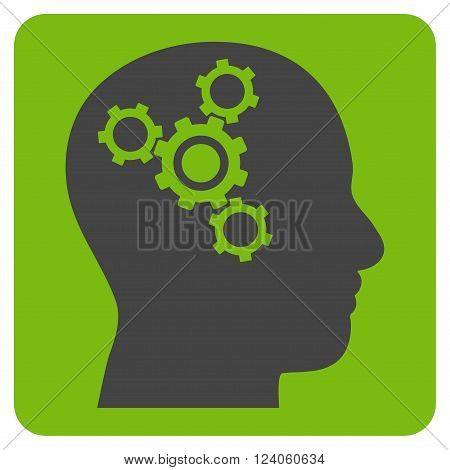 Brain Mechanics vector symbol. Image style is bicolor flat brain mechanics iconic symbol drawn on a rounded square with eco green and gray colors.