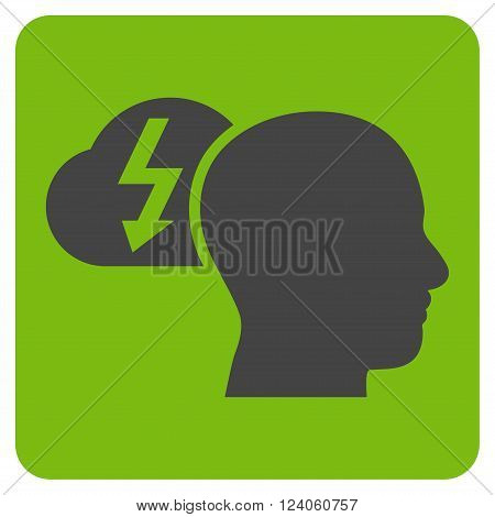 Brainstorming vector icon. Image style is bicolor flat brainstorming icon symbol drawn on a rounded square with eco green and gray colors.