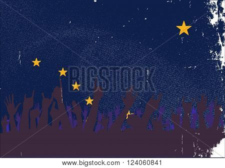 Audience happy reaction with Alaskan State flag background