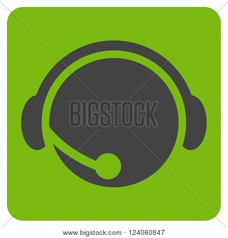 Call Center Operator vector pictogram. Image style is bicolor flat call center operator icon symbol drawn on a rounded square with eco green and gray colors.