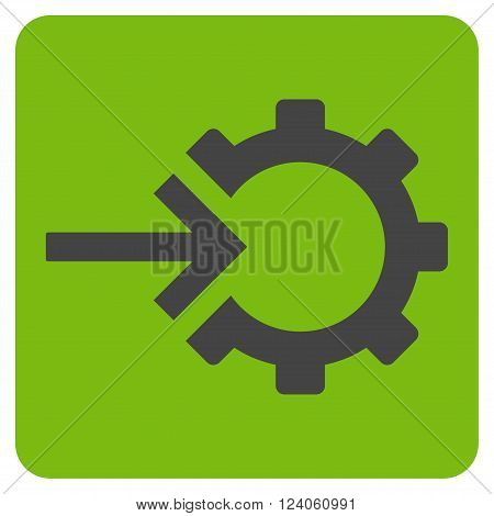 Cog Integration vector icon symbol. Image style is bicolor flat cog integration iconic symbol drawn on a rounded square with eco green and gray colors.