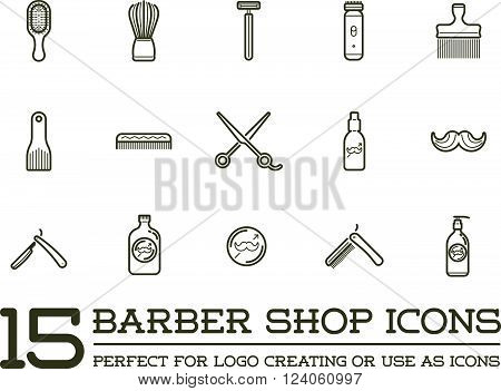 Set of Vector Barber Shop Elements and Shave Shop Icons Illustration can be used as Logo or Icon in premium quality.