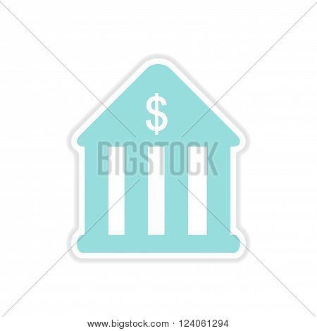 realistic paper sticker on white  background bank
