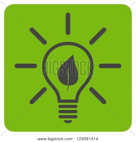 Eco Light Bulb vector symbol. Image style is bicolor flat eco light bulb icon symbol drawn on a rounded square with eco green and gray colors.