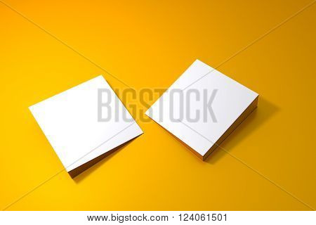 Two blank square board on yellow surface 3d rendering
