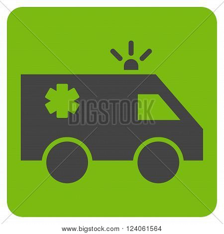 Emergency Car vector icon. Image style is bicolor flat emergency car iconic symbol drawn on a rounded square with eco green and gray colors.