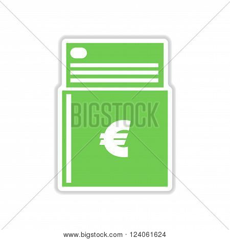 realistic paper sticker on white  background checkbook
