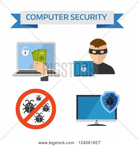 Concepts internet security and safety internet information security symbols. Flat design concepts for Internet Security, Mobile Payment, Marketing Solution flat vector icons.