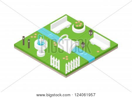 Park isometric 3d green nature and park travel isometric design. 3d isometric design nature park landscape illustration with forest, hills, rocks, waterfall, flowers and meadow vector.