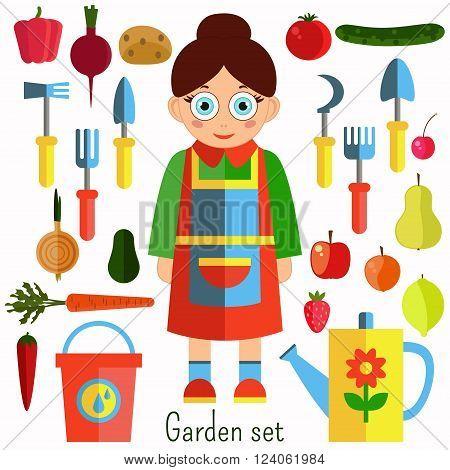 Garden set with gardener woman, garden equipment, vegetables and fruits.