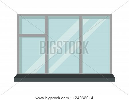 House window and glass window architecture square view. Glass window vector. Window interior frame glass construction isolated flat vector illustration.