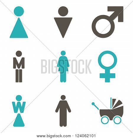 WC Gender Symbols vector icon set. Style is bicolor grey and cyan flat symbols isolated on a white background.